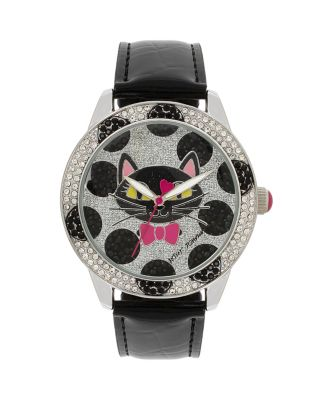 BETSEYS HOLIDAY SPOTTED CAT WATCH BLACK