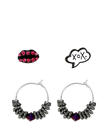 BETSEYS HOOP LIPS AND XOX STUD SET
