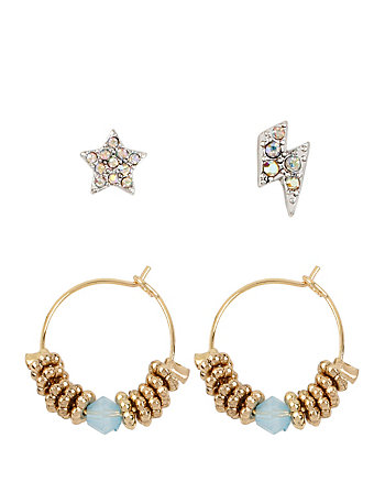 BETSEYS HOOP STAR AND LIGHTNING BOLD STUD SET