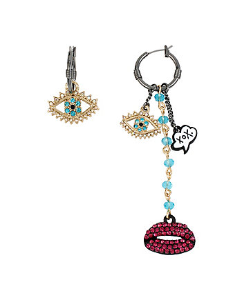 BETSEYS LIPS AND XOX MISMATCH EARRINGS