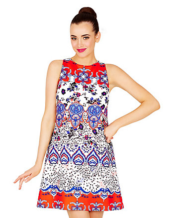 BETSEYS MIXED PRINT SHIFT DRESS