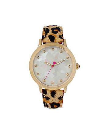 BETSEYS MOSAIC GOLD AND LEOPARD WATCH