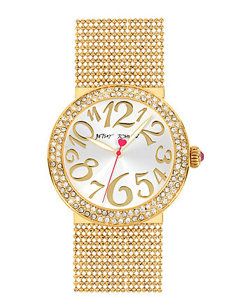 BETSEYS MULTI CHAIN BRACELET GOLD WATCH