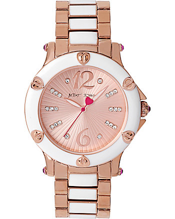 BETSEYS NAIL HEAD HEARTS ROSE GOLD AND WHITE WATCH