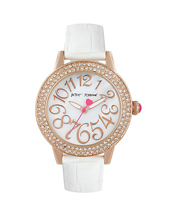 BETSEYS SLEEK WHITE AND ROSE GOLD WATCH