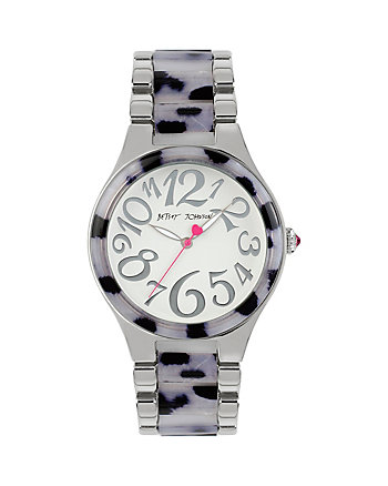 BETSEYS WILD SILVER LEOPARD WATCH