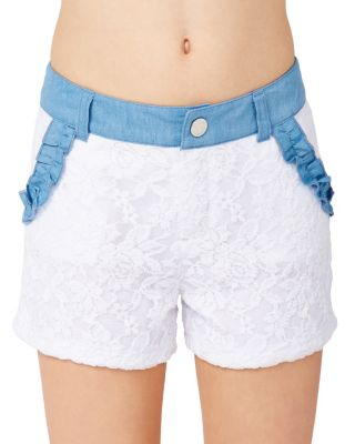 BJ GIRLS LACEY SHORTS WHITE