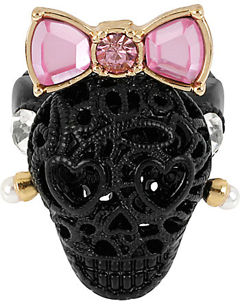 BLACK LACE SKULL STRETCH RING