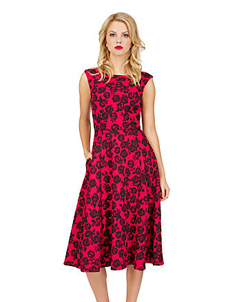 BLACK ROSE RED FLIRTY DRESS