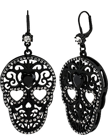 BLACKOUT FILIGREE SKULL DROP EARRINGS