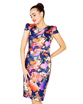 BLAZING BLOOMS MIDI DRESS