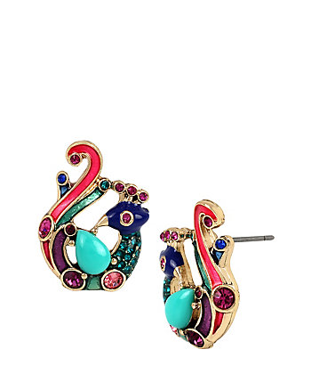 BOHO BETSEY PEACOCK STUD EARRINGS