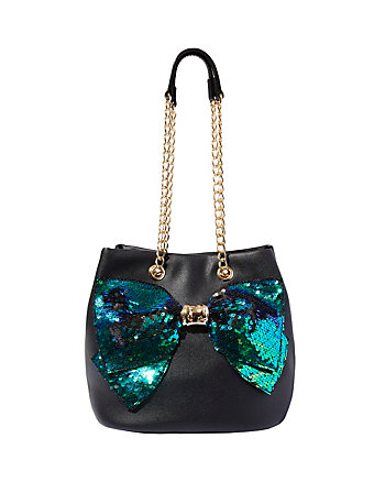 BOW-LESQUE SEQUIN DRAWSTRING BAG