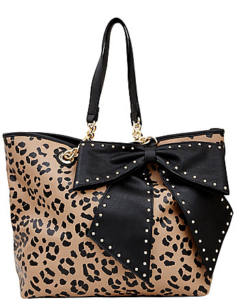 BOW-LETTE LEOPARD TOTE
