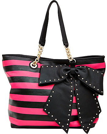 BOW-LETTE STRIPED TOTE