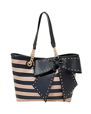 Bow Striped Tote