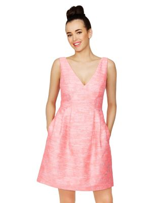 BRILLIANT BROCADE DRESS PINK/WHITE