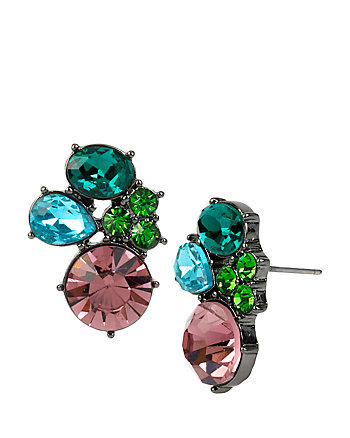 BUTTERFLY EFFECT MULTI STONE CLUSTER EARRINGS