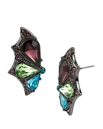 BUTTERFLY EFFECT MULTI STONE WING BUTTON EARRINGS