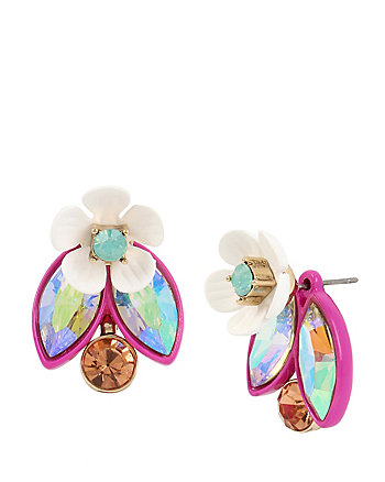 BUZZ OFF FLOWER FRONT BACK EARRINGS