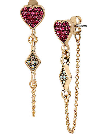 CASINO ROYALE PINK HEART AND CHAIN EARRINGS