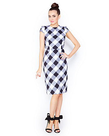 CHEERING FOR CHECKS MIDI DRESS
