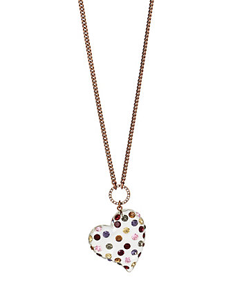 CONFETTI MULTI HEART LUCITE PENDANT NECKLACE