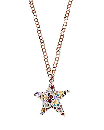 CONFETTI MULTI STAR LUCITE PENDANT NECKLACE