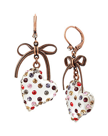 CONFETTI MULTI STONE LUCITE HEART DROP EARRING