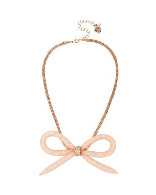 CONFETTI ROSE GOLD BOW NECKLACE CRYSTAL