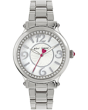 COSMOPOLITAN CRYSTAL ACCENTS SILVER WATCH