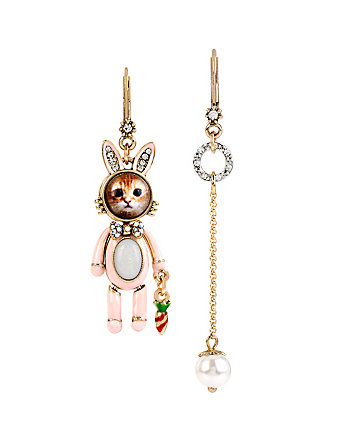 COSTUME CRITTERS BUNNY KITTY MISMATCH EARRINGS