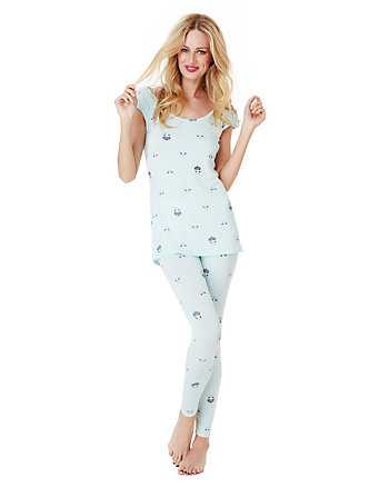 CROWNED CAT PRINTED RAYON TUNIC AND PANT SET