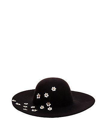 DAISY APPLIQUE FELT FLOPPY HAT