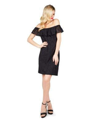 DARE TO BARE THE SHOULDERS DRESS BLACK