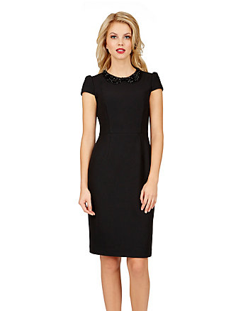 DELICATO BEADED COLLAR DRESS