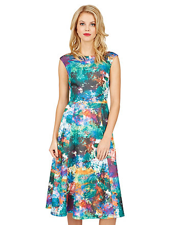 DIGITAL WORLD FLORAL DRESS