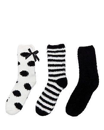 DOTS AND STRIPES COZY SOCK THREE PACK