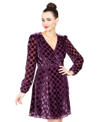 DOTTED FAUX WRAP DRESS WINE