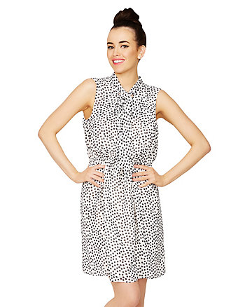 DOTTED TIE-NECK DRESS