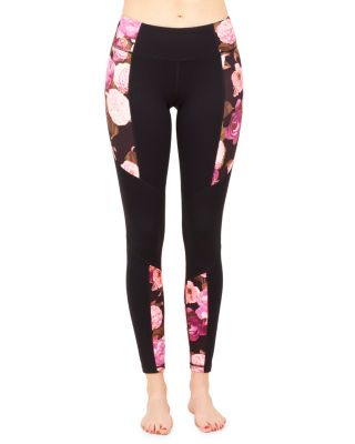 DRAMATIC FLORAL BLOCKED ANKLE LEGGING BLACK MULTI