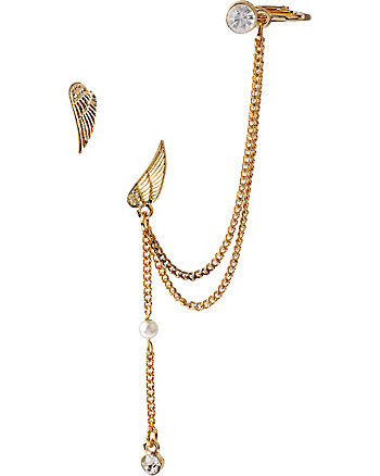 EAR CUFF WITH WING AND CHAIN
