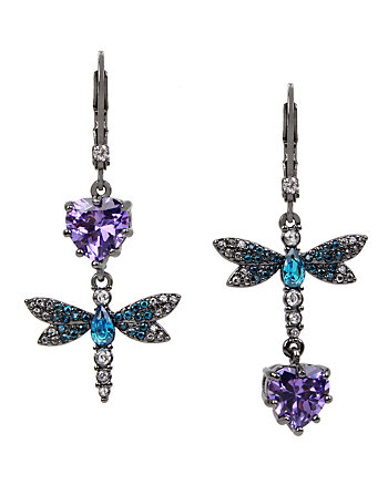 FALL CRITTERS DRAGON FLY CZ MIS MATCH EARRING