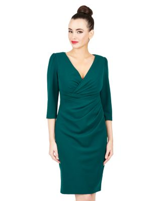 FALL FAUX WRAP DRESS TEAL