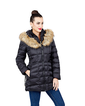 FAUX FUR TRIMMED SHORT PUFFER COAT WITH CORSET