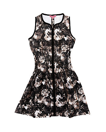 FAVORITE ZIP FRONT FLORAL DRESS