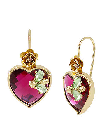 FLAT OUT FLORAL HEART DROP EARRINGS