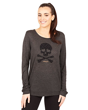 FLOCKED SKULL LONG SLEEVE TEE