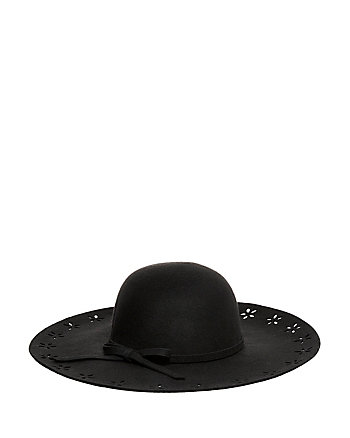 FLORAL CUT OUT FELT FLOPPY HAT