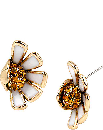 FLOWER CHILD HALF DAISY STUD EARRINGS